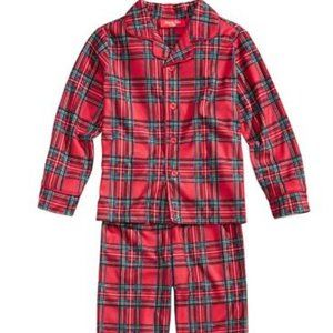 NWT Family Pajamas 2pc Red Brinkley Plaid Kids Set